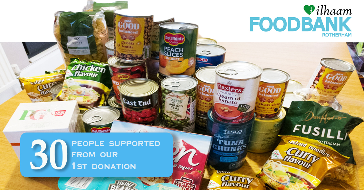 Ilhaam Foodbank Rotherham Makes first food donation
