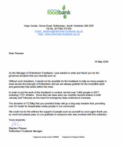 Letter expressing thanks from Hope Church Rotherham